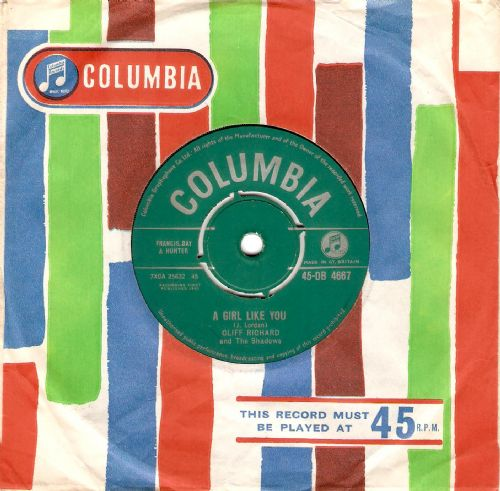 CLIFF RICHARD AND THE SHADOWS A Girl Like You Vinyl Record 7 Inch Columbia 1961